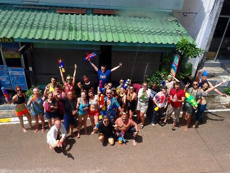 "As friends instructors and divers having fun on celebration Thai new year ""Songkran"""